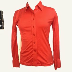 Vintage Orange Button Down Blouse